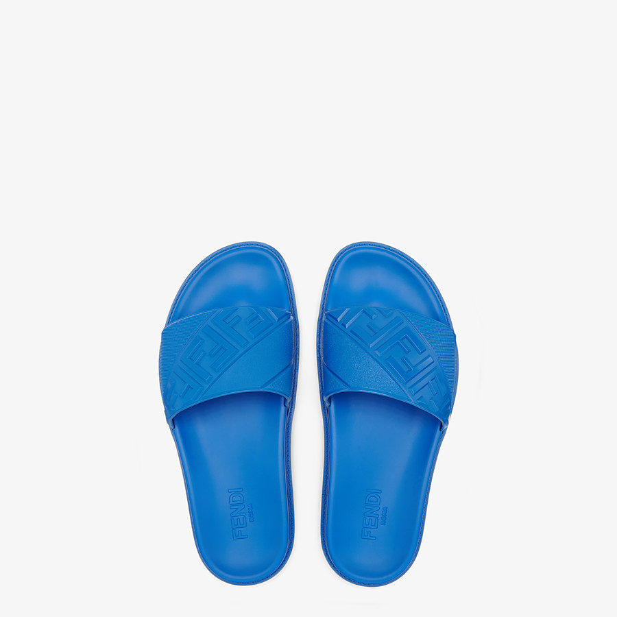 FENDI SLIDES - Blue rubber slides - view 4 detail