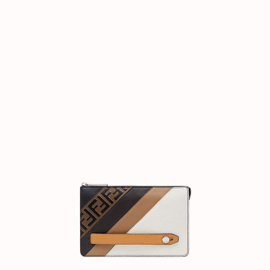 FENDI CLUTCH - White Romano leather pochette - view 1 detail