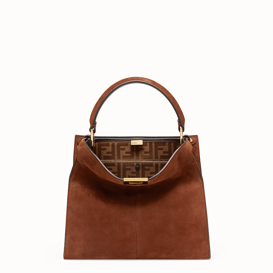 FENDI PEEKABOO X-LITE REGULAR - Brown suede bag - view 3 detail
