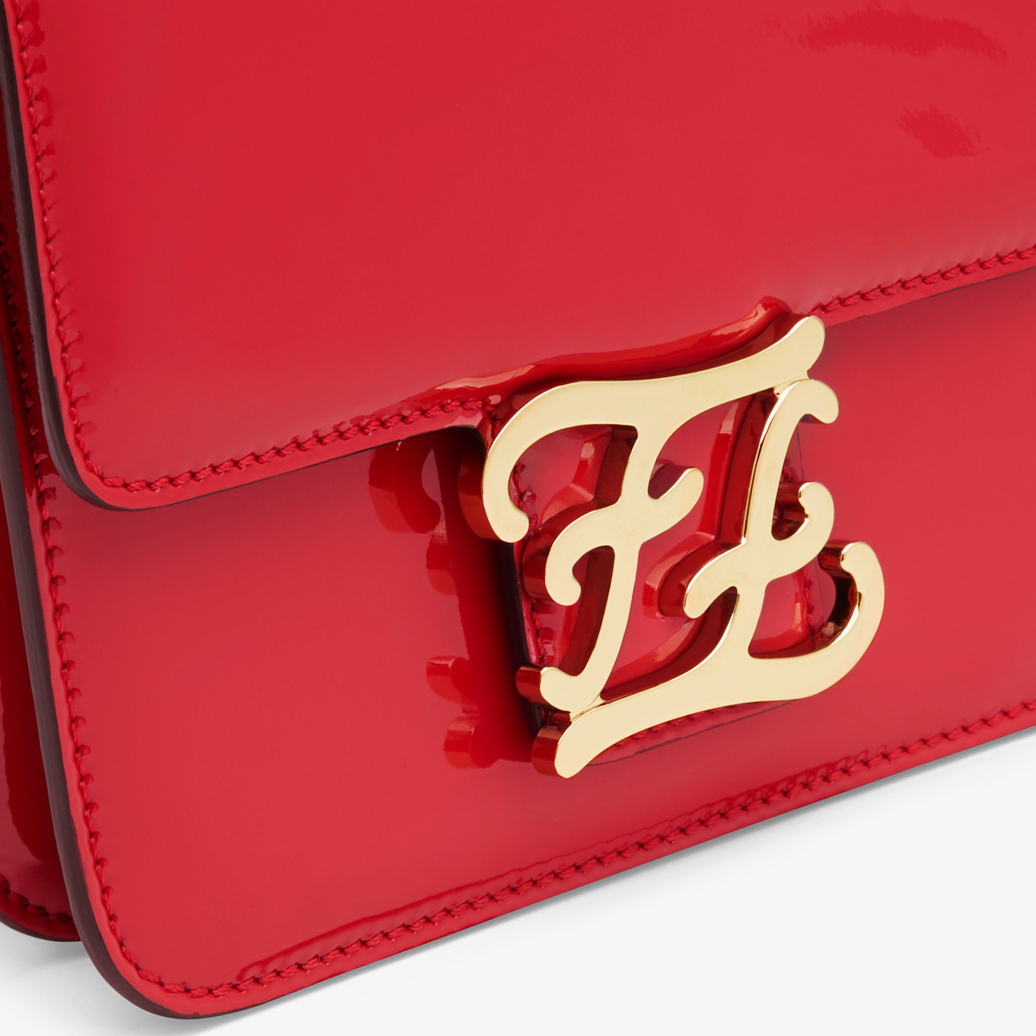 FENDI KARLIGRAPHY - Red patent leather bag - view 6 detail