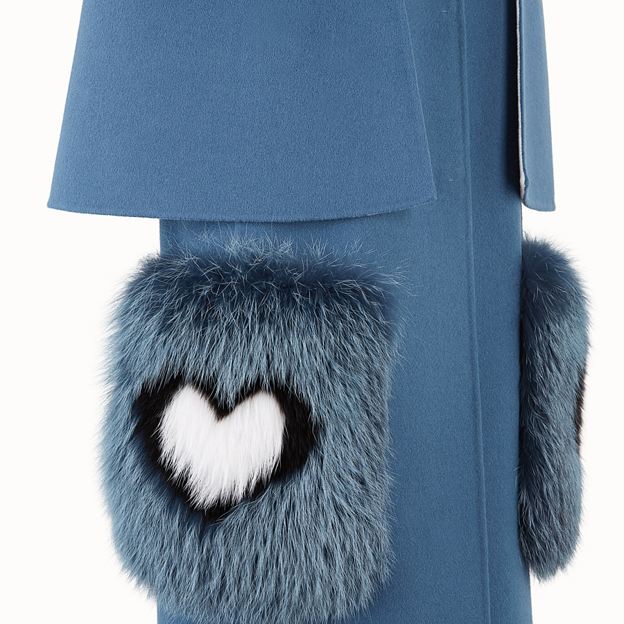 FENDI COAT - Blue wool coat - view 3 detail