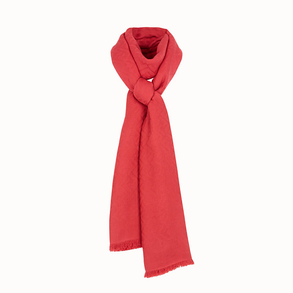 FENDI FENDIRAMA MAXI STOLE - Modal, cotton and red cashmere stole - view 1 small thumbnail