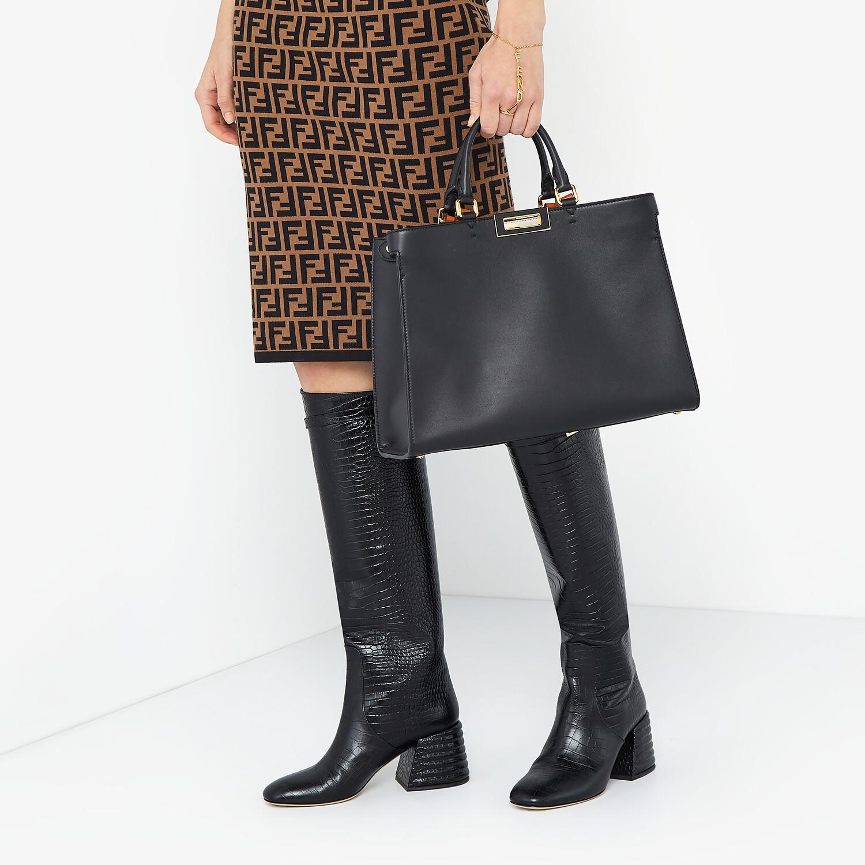 FENDI SMALL PEEKABOO X-TOTE - Black leather bag - view 2 detail