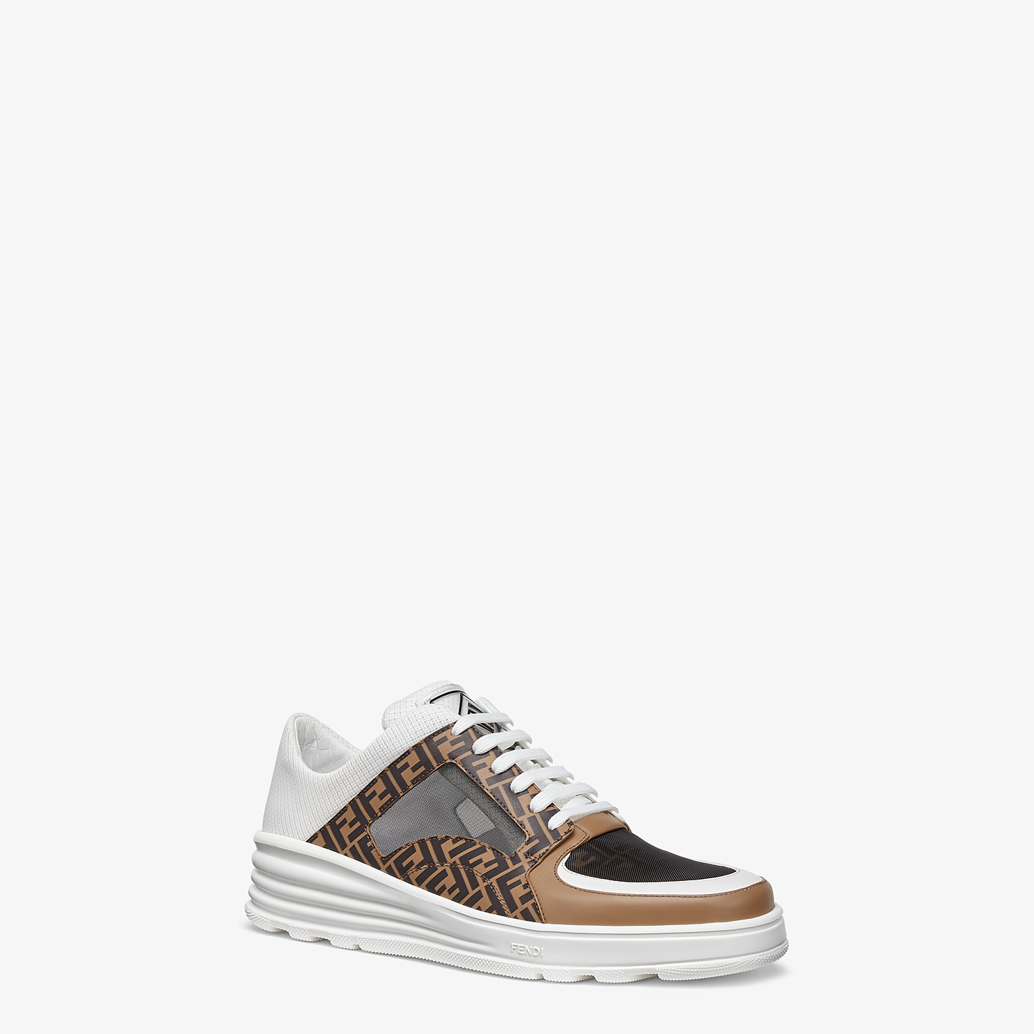 FENDI SNEAKERS - Brown leather low tops - view 2 detail