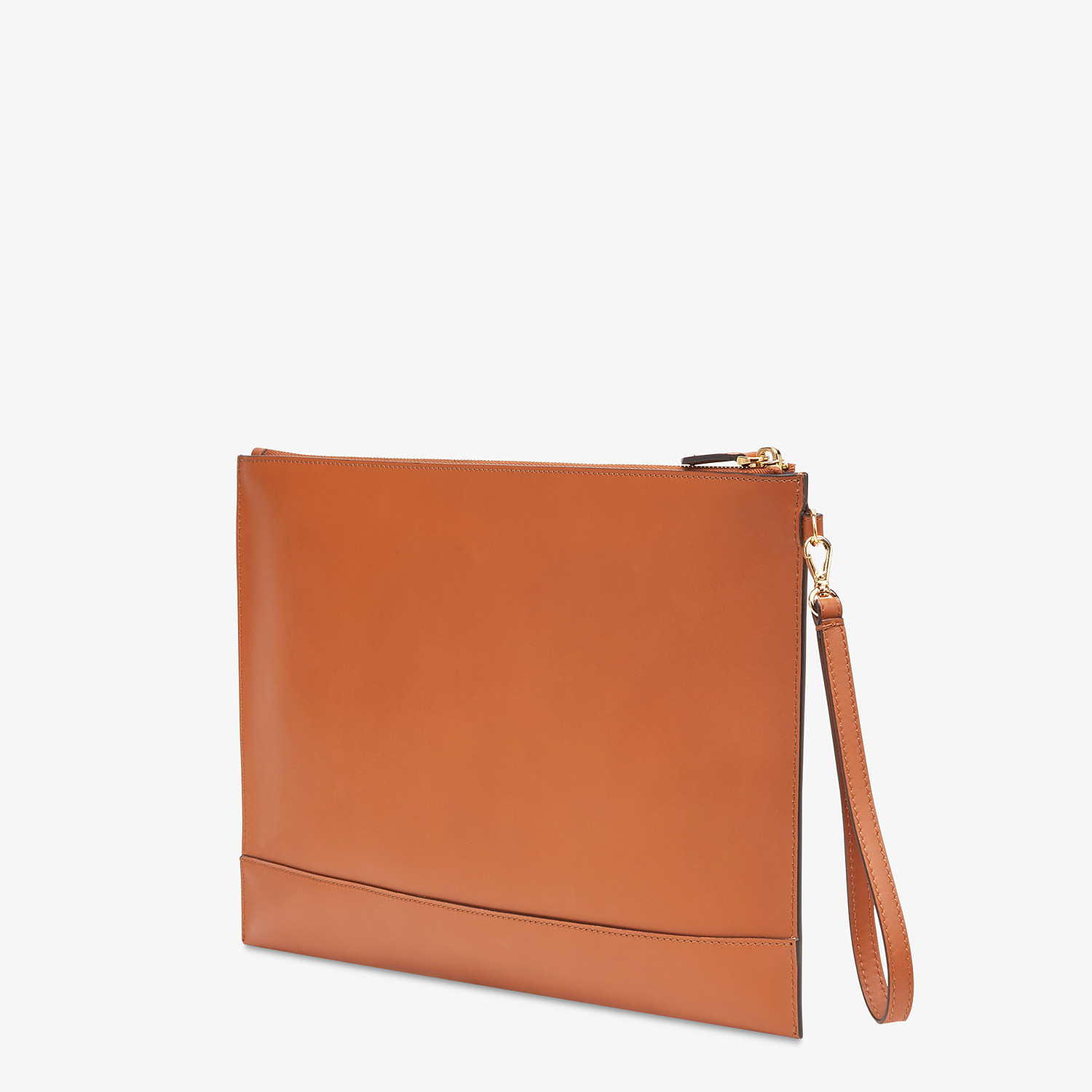 FENDI LARGE FLAT POUCH - Brown leather pouch - view 3 detail