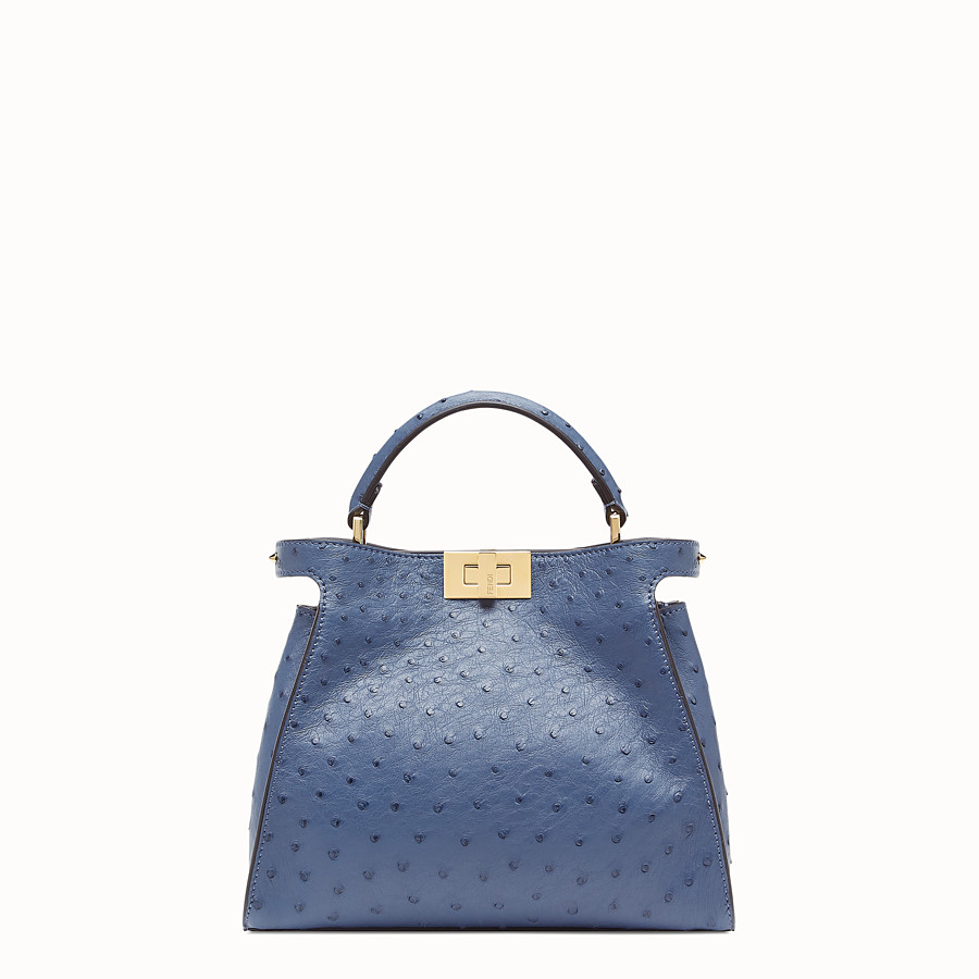 FENDI PEEKABOO ICONIC ESSENTIALLY - Blue ostrich leather bag - view 1 detail