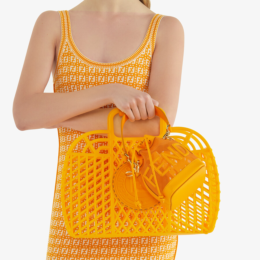 FENDI MON TRESOR - Orange leather and mesh mini-bag - view 2 detail