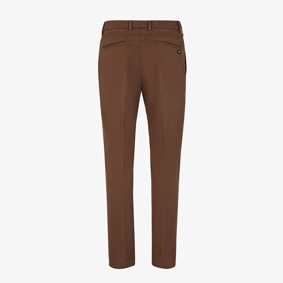 FENDI TROUSERS - Beige cotton trousers - view 2 detail