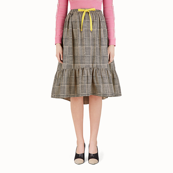 FENDI MIDI SKIRT - Glen plaid cotton skirt - view 1 small thumbnail