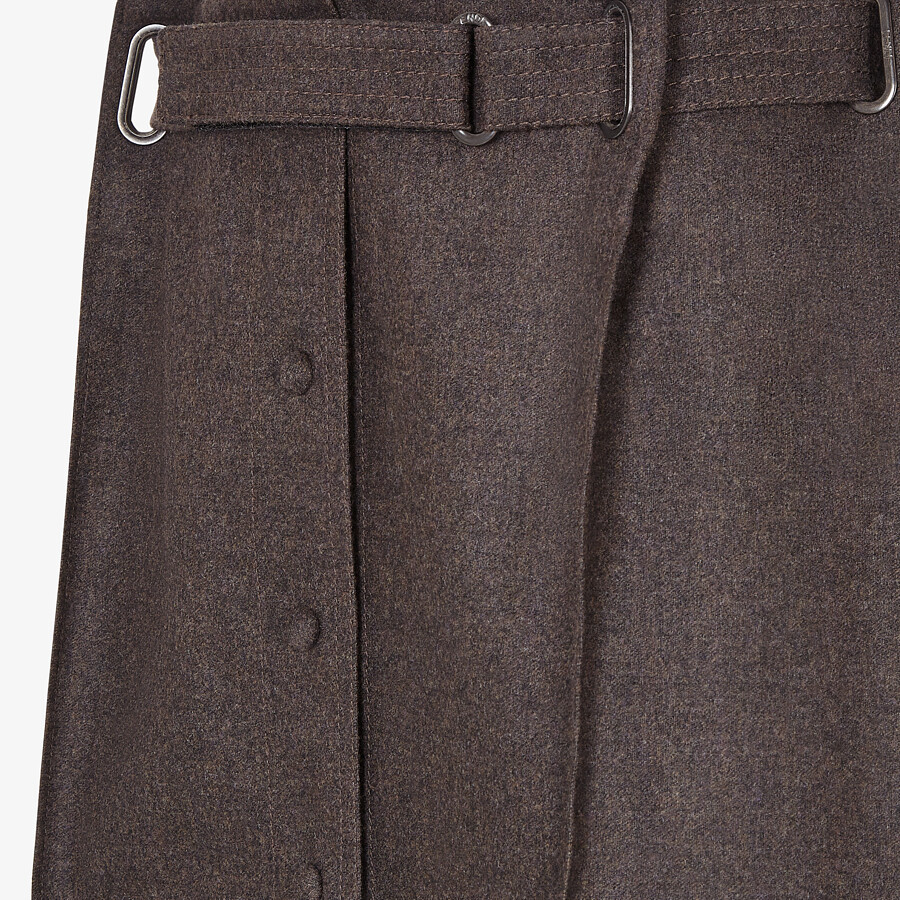 FENDI SKIRT - Brown cashmere and flannel skirt - view 3 detail