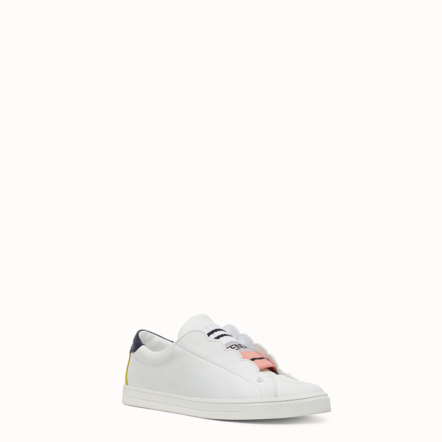 FENDI SNEAKER - White leather slip-ons - view 2 detail