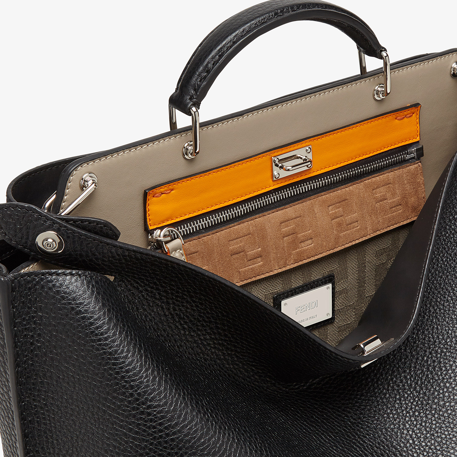 FENDI PEEKABOO ICONIC ESSENTIAL - Black leather bag - view 6 detail