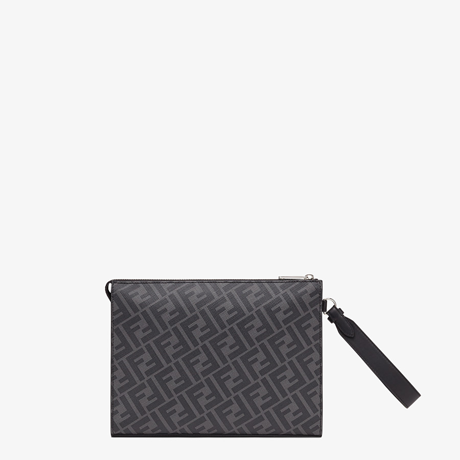 FENDI FLAT POUCH - Gray fabric pouch - view 3 detail