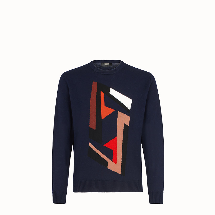 FENDI PULLOVER - Blue wool jumper - view 1 detail