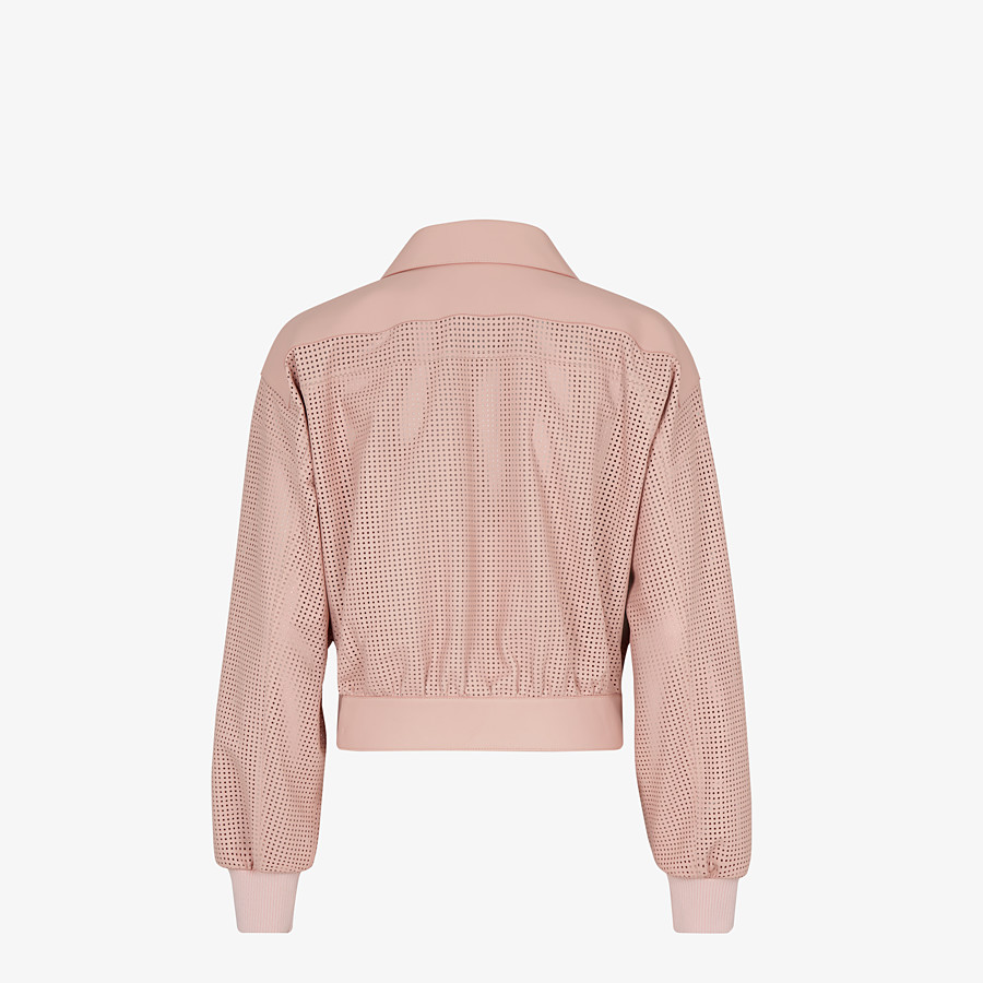 FENDI JACKET - Pink leather jacket - view 2 detail