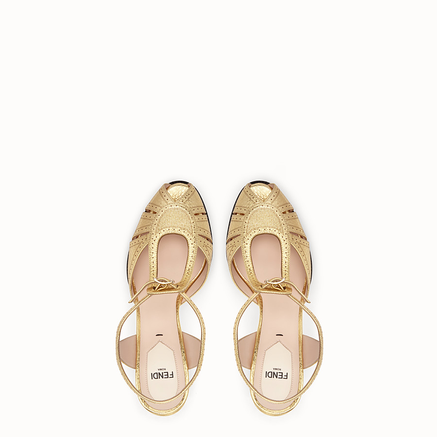 FENDI SANDALS - Gold laminated leather sandals - view 4 detail