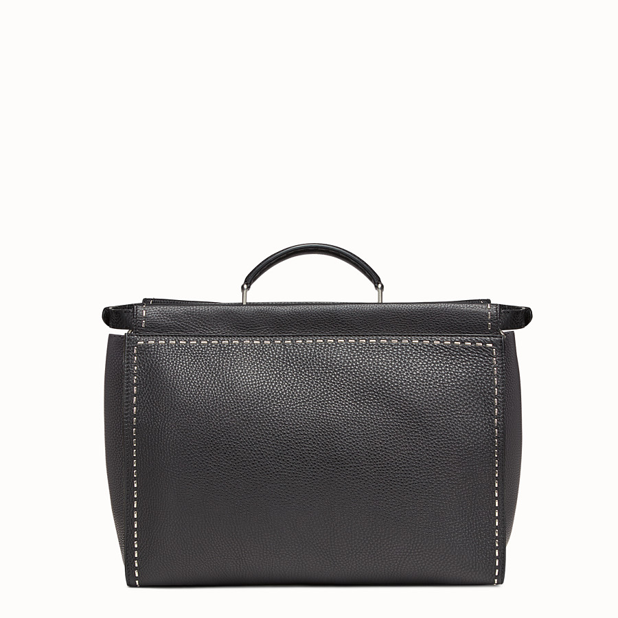 FENDI PEEKABOO - in black Roman leather with metallic stitching - view 3 detail