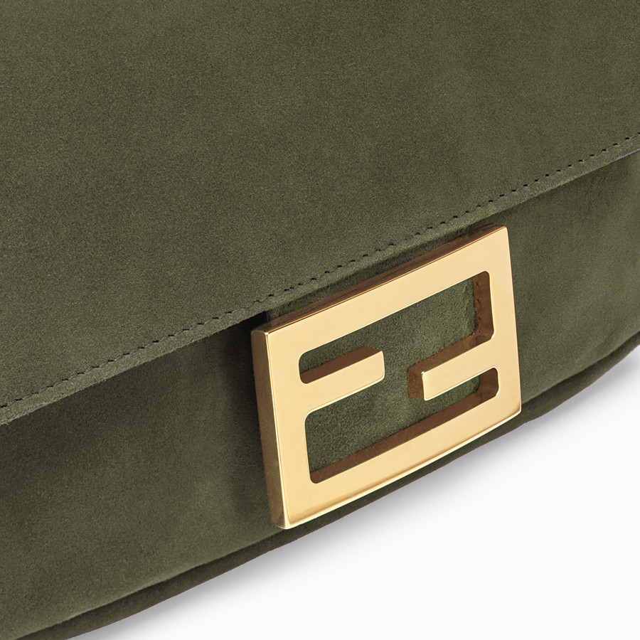 FENDI MINI BAGUETTE - Green suede bag - view 6 detail
