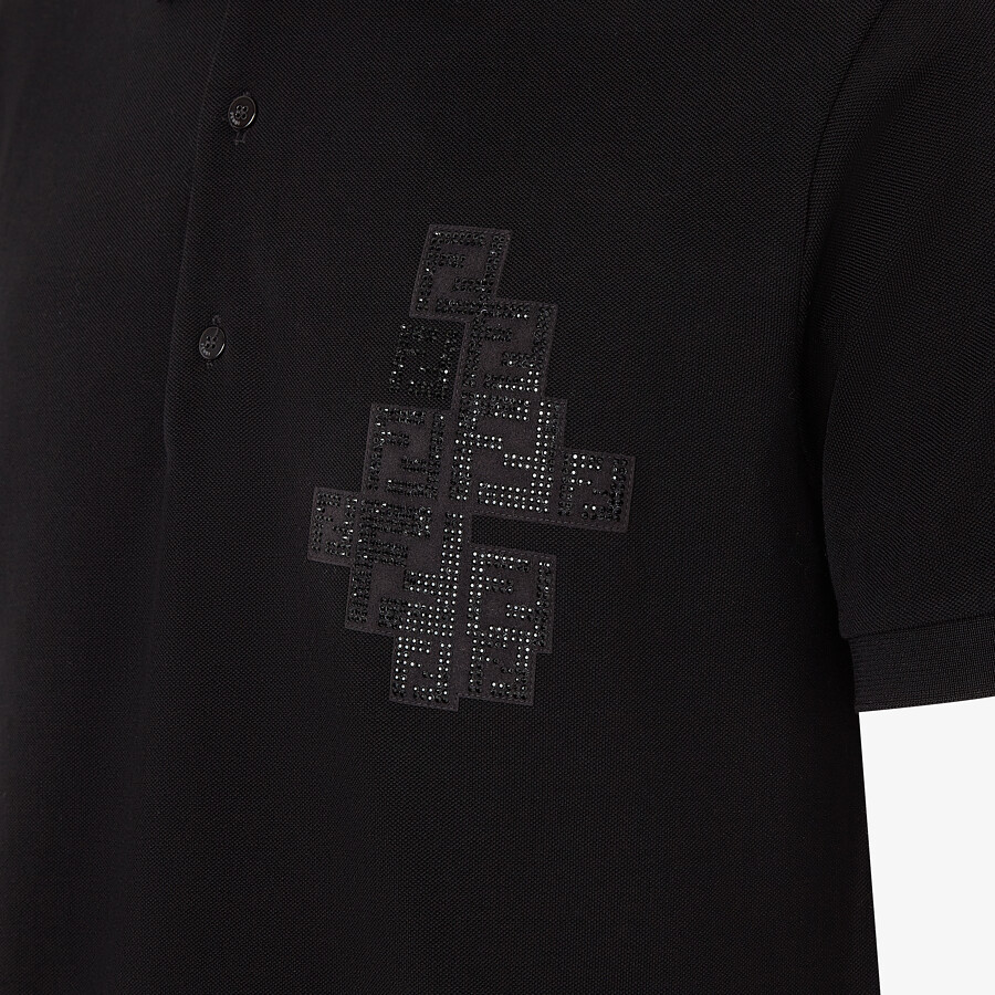 FENDI POLO SHIRT - Black cotton polo shirt - view 3 detail