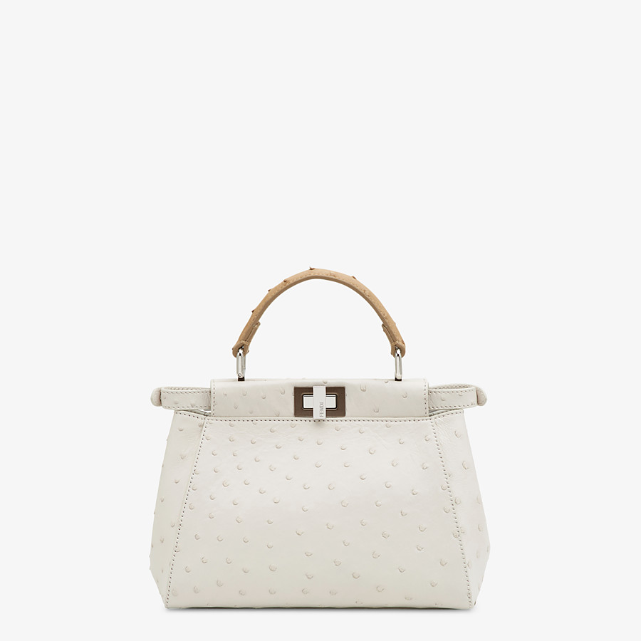 FENDI PEEKABOO ICONIC MINI - White ostrich leather bag - view 3 detail