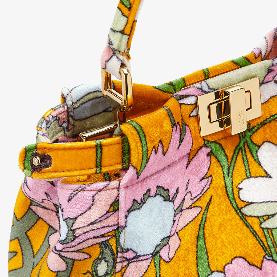 FENDI PEEKABOO ICONIC MINI - Orange chenille bag - view 6 detail