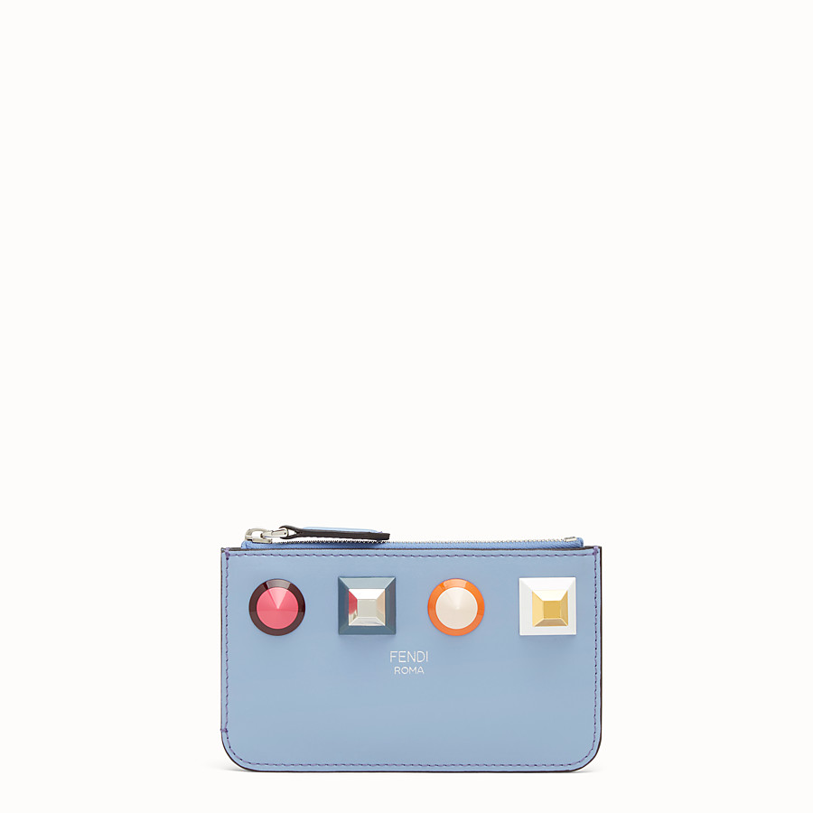 FENDI KEY RING POUCH - Light blue leather pouch - view 1 detail