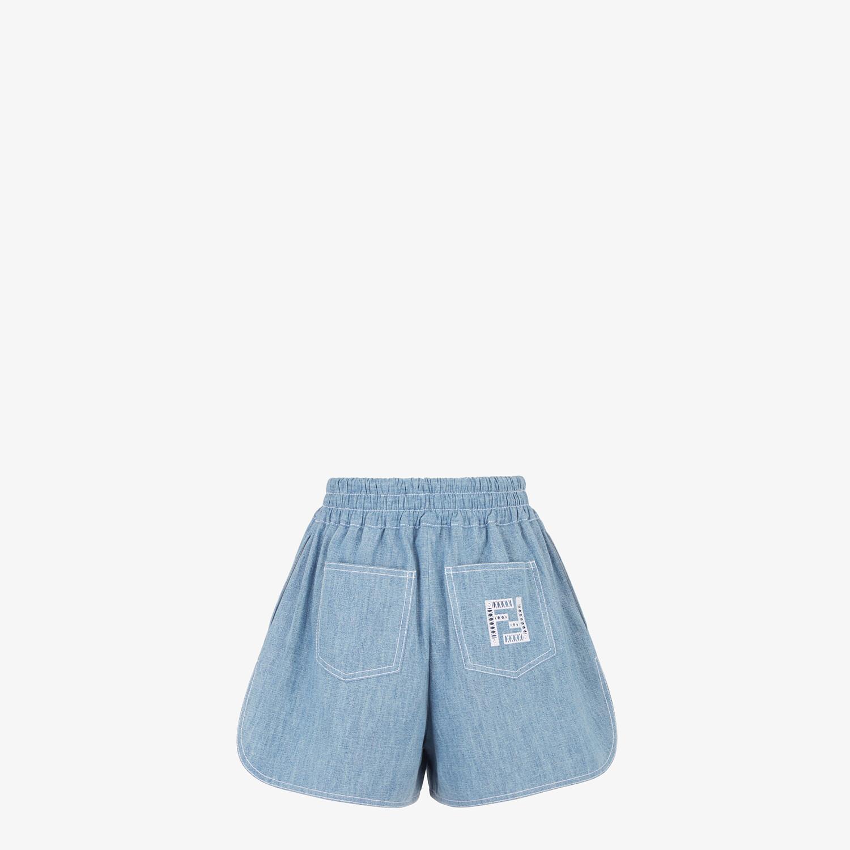 FENDI SHORTS - Light blue chambray shorts - view 2 detail