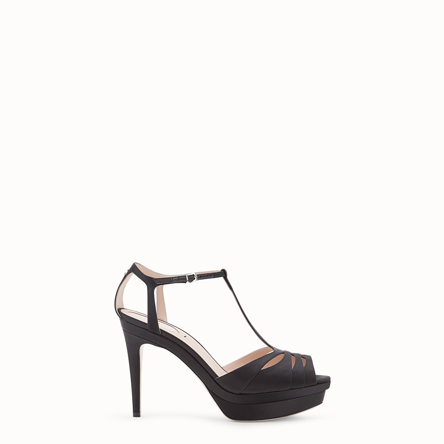 FENDI SANDALS - Black satin high sandals - view 1 detail
