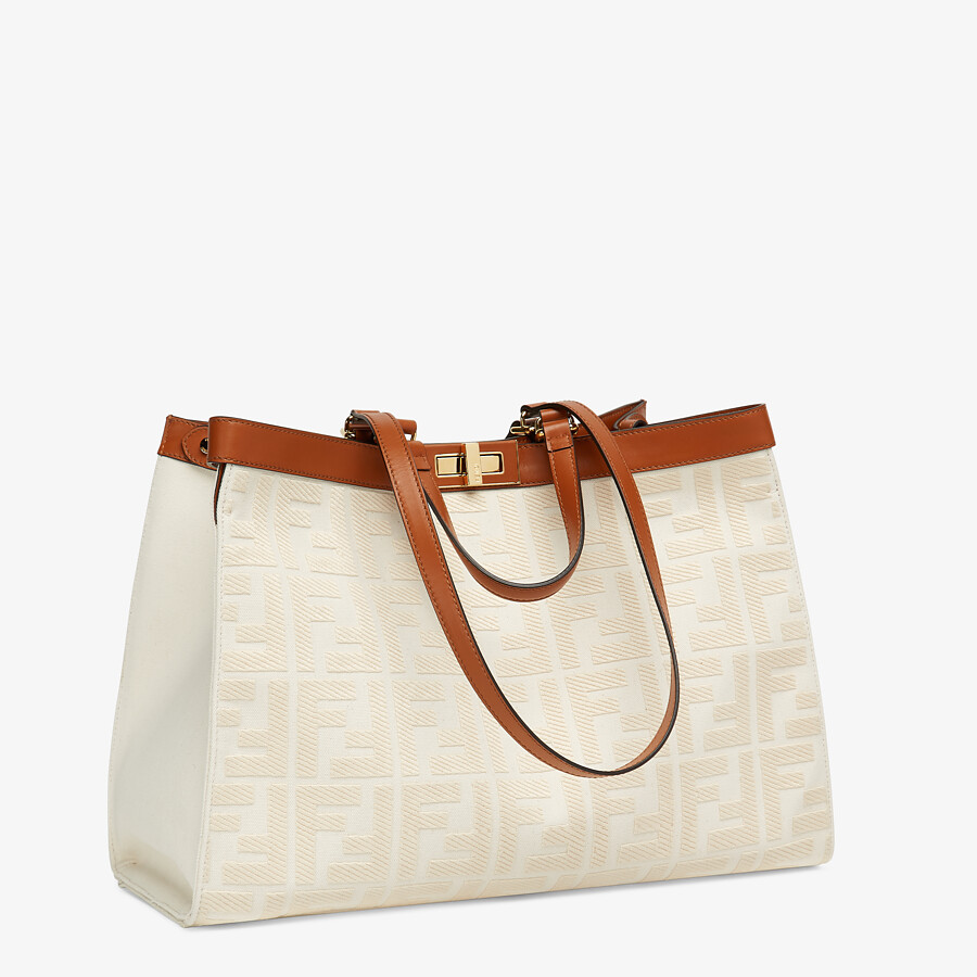FENDI PEEKABOO X-TOTE - White canvas bag - view 3 detail