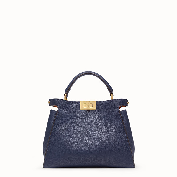 FENDI PEEKABOO ICONIC ESSENTIALLY - Blue leather bag - view 1 small thumbnail