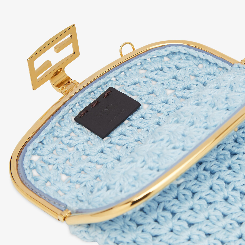 FENDI BAGUETTE PHONE BAG - Light blue fabric mini-bag - view 4 detail
