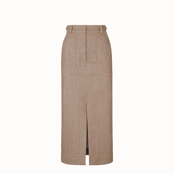 FENDI SKIRT - Beige denim skirt - view 1 small thumbnail