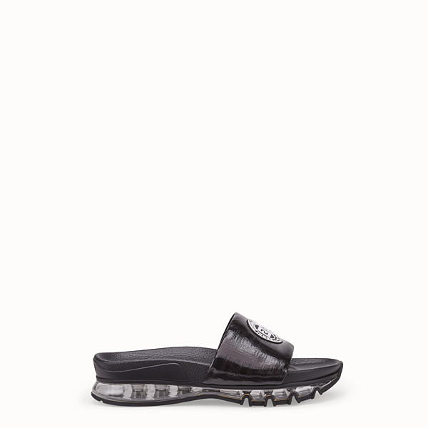 FENDI SANDALS - Black leather and PU slides - view 1 small thumbnail