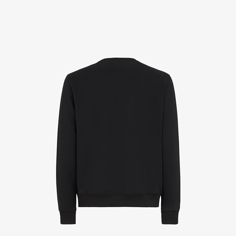 FENDI SWEATSHIRT - Black wool and cotton sweatshirt - view 2 detail