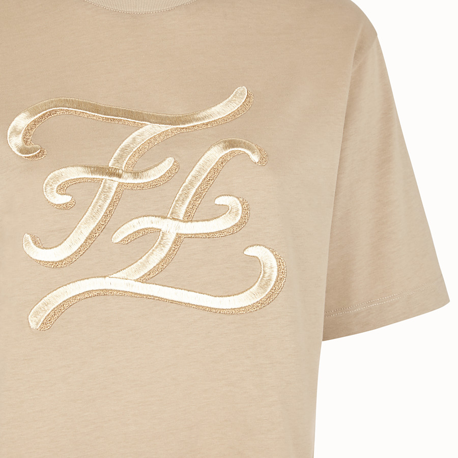 FENDI T-SHIRT - Beige cotton T-shirt - view 3 detail