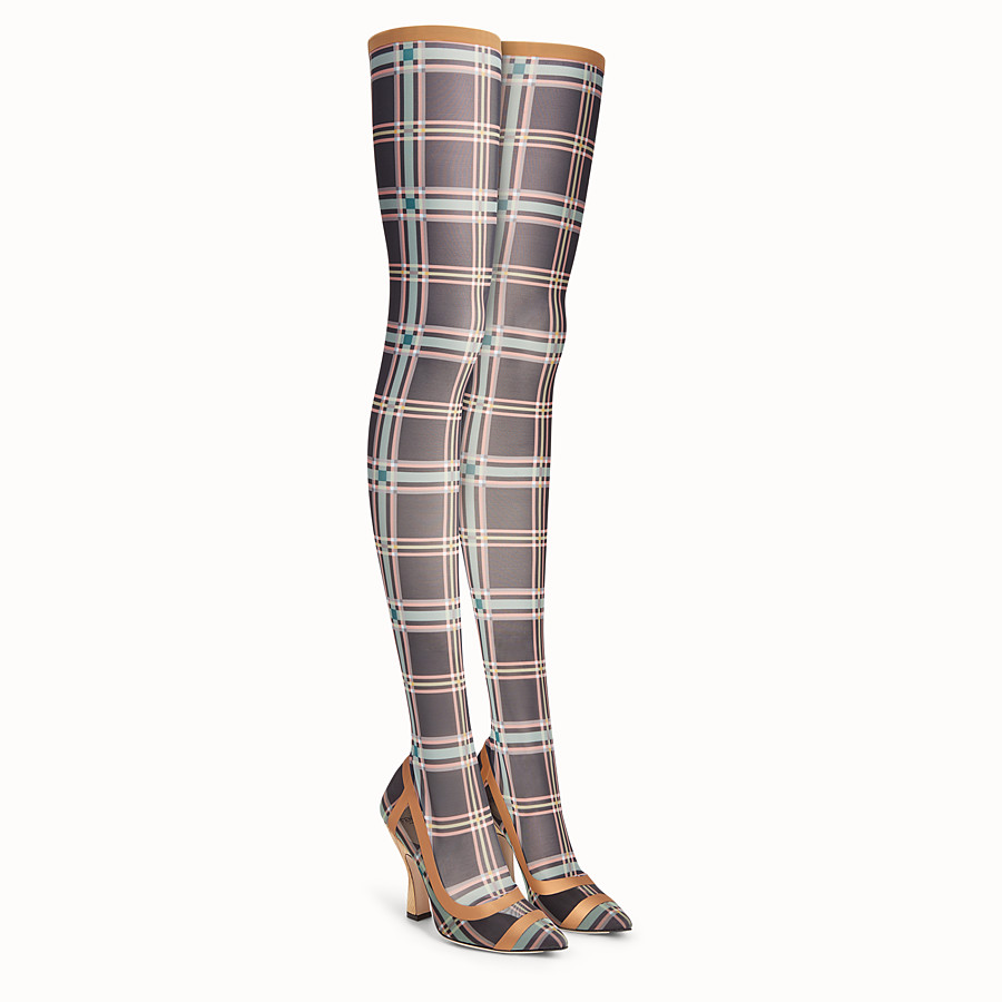 FENDI THIGH-HIGH BOOTS - Multicolour mesh and tulle boots - view 4 detail