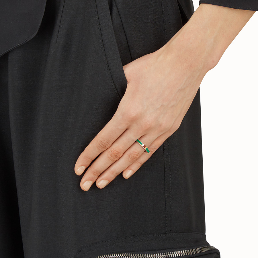 FENDI BAGUETTE RING - Polished green Baguette ring - view 2 detail