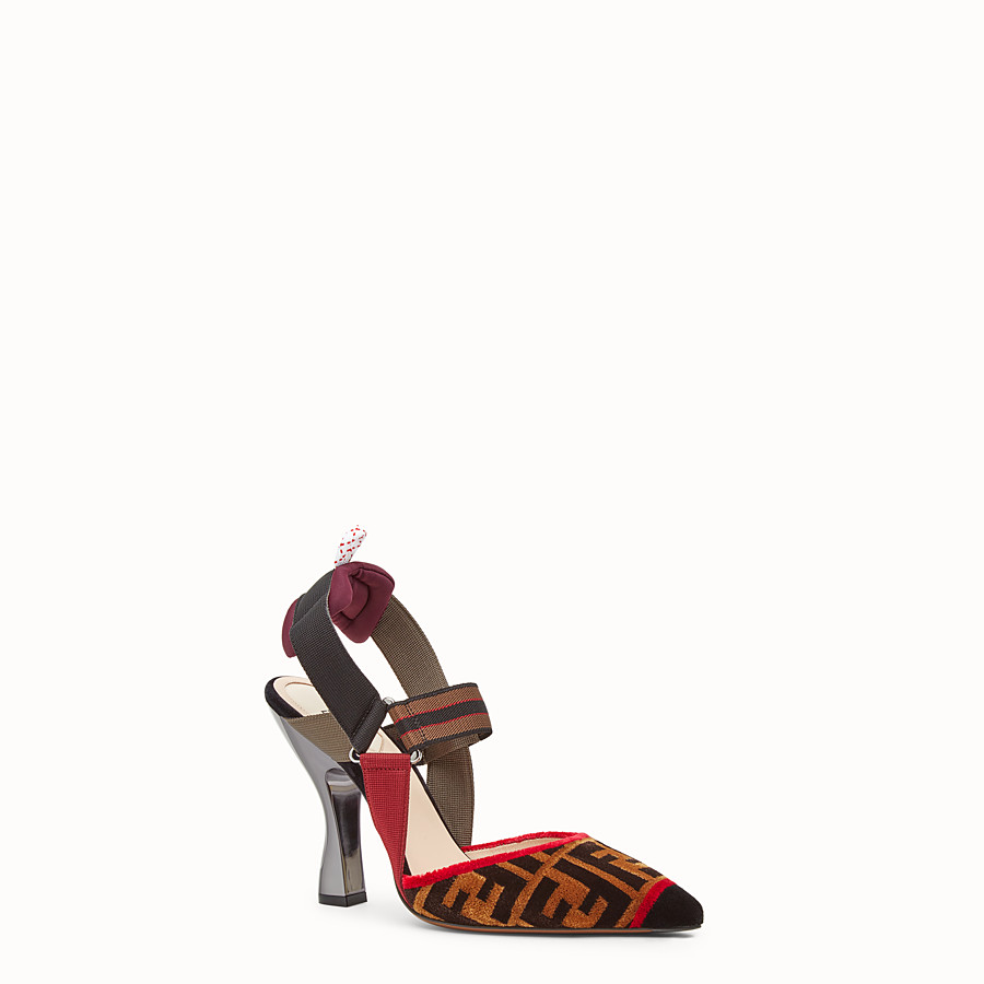 FENDI COURT SHOES - Multicolour fabric slingbacks - view 2 detail