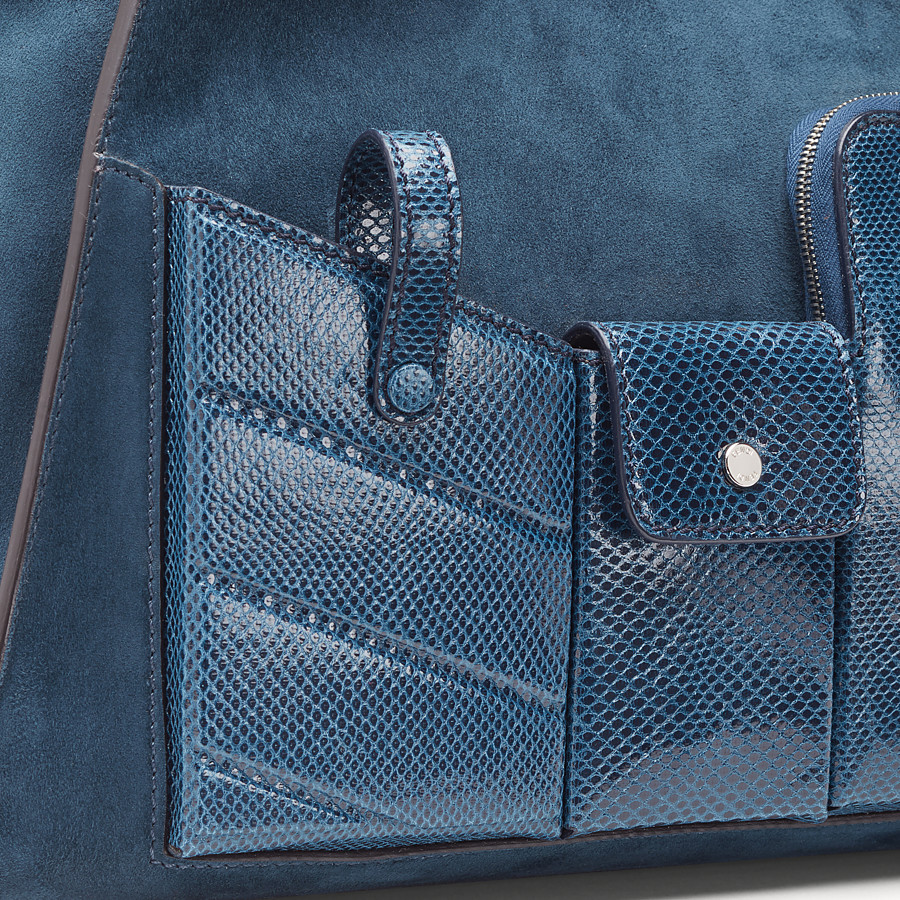 FENDI PEEKABOO ICONIC MEDIUM - blue suede bag with exotic details - view 6 detail
