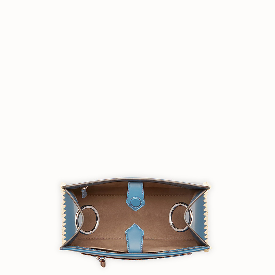 FENDI RUNAWAY SMALL - Blue leather bag with exotic details - view 4 detail