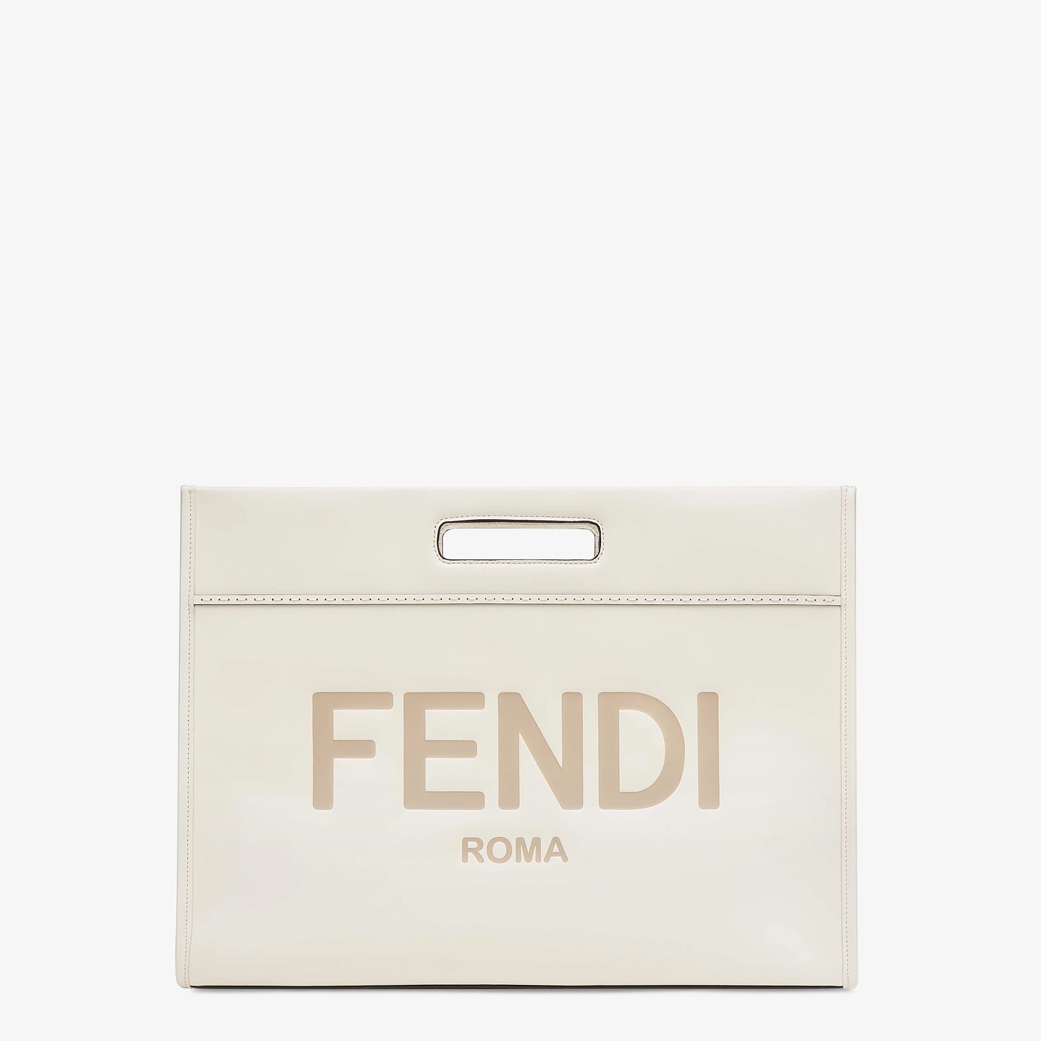 FENDI SHOPPING BAG - White leather shopper - view 1 detail