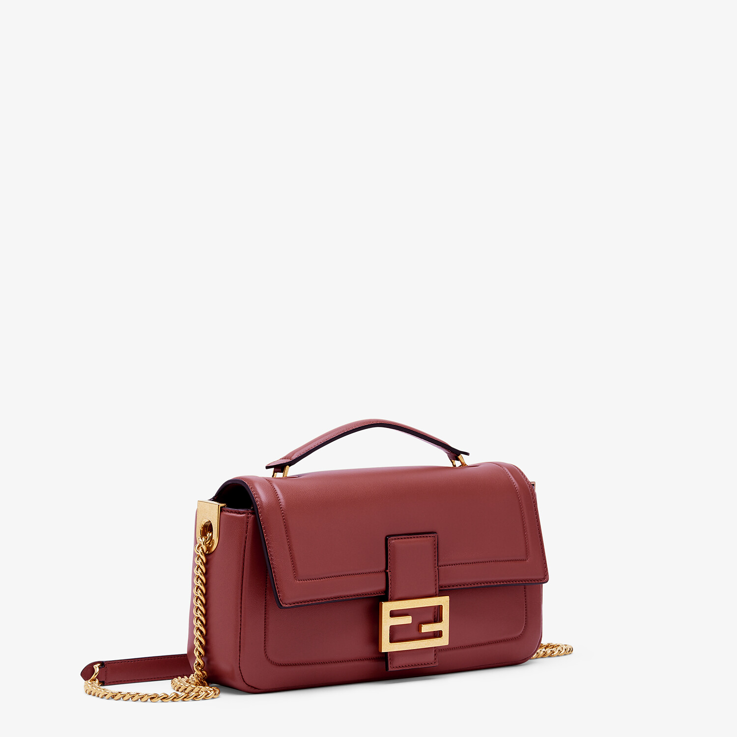 FENDI BAGUETTE CHAIN - Red nappa leather bag - view 2 detail