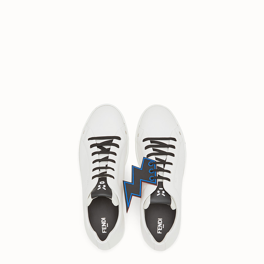 FENDI SNEAKER - White lace-up with lightning bolt - view 4 detail