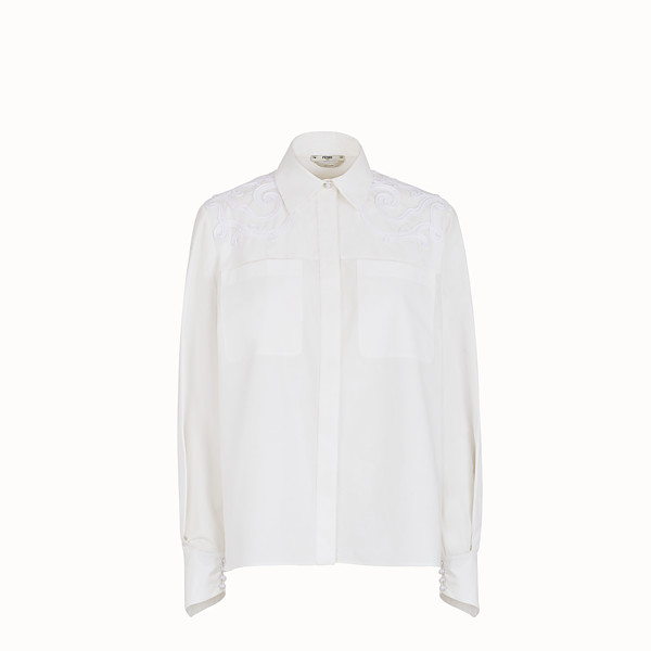 FENDI SHIRT - White cotton taffeta shirt - view 1 small thumbnail