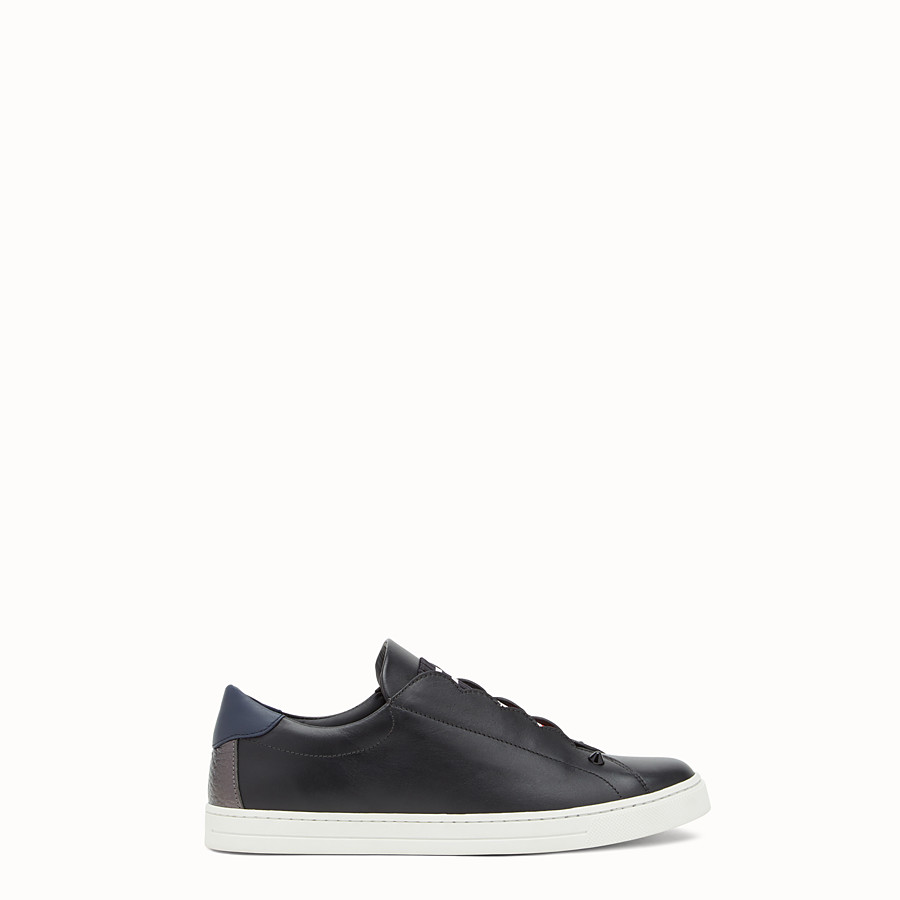 FENDI SNEAKERS - Black stretch leather slip-ons - view 1 detail