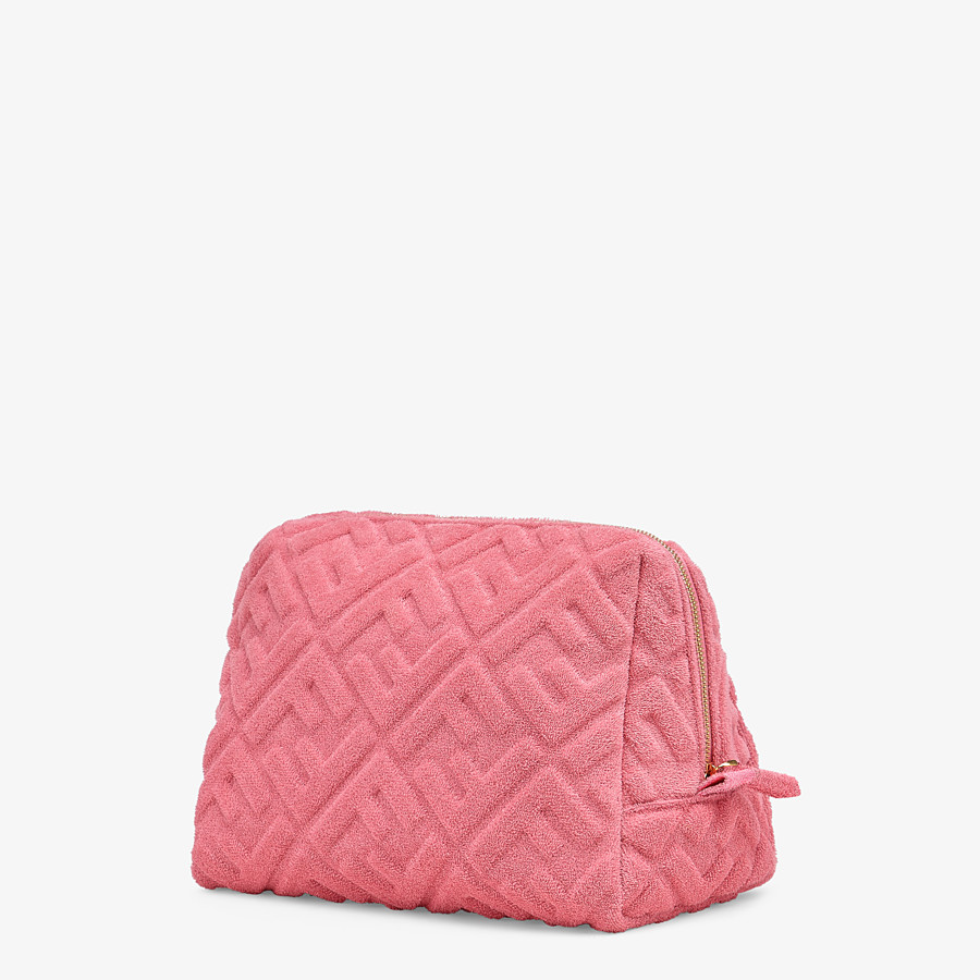 FENDI MEDIUM BEAUTY POUCH - Pink terrycloth toiletry case - view 2 detail
