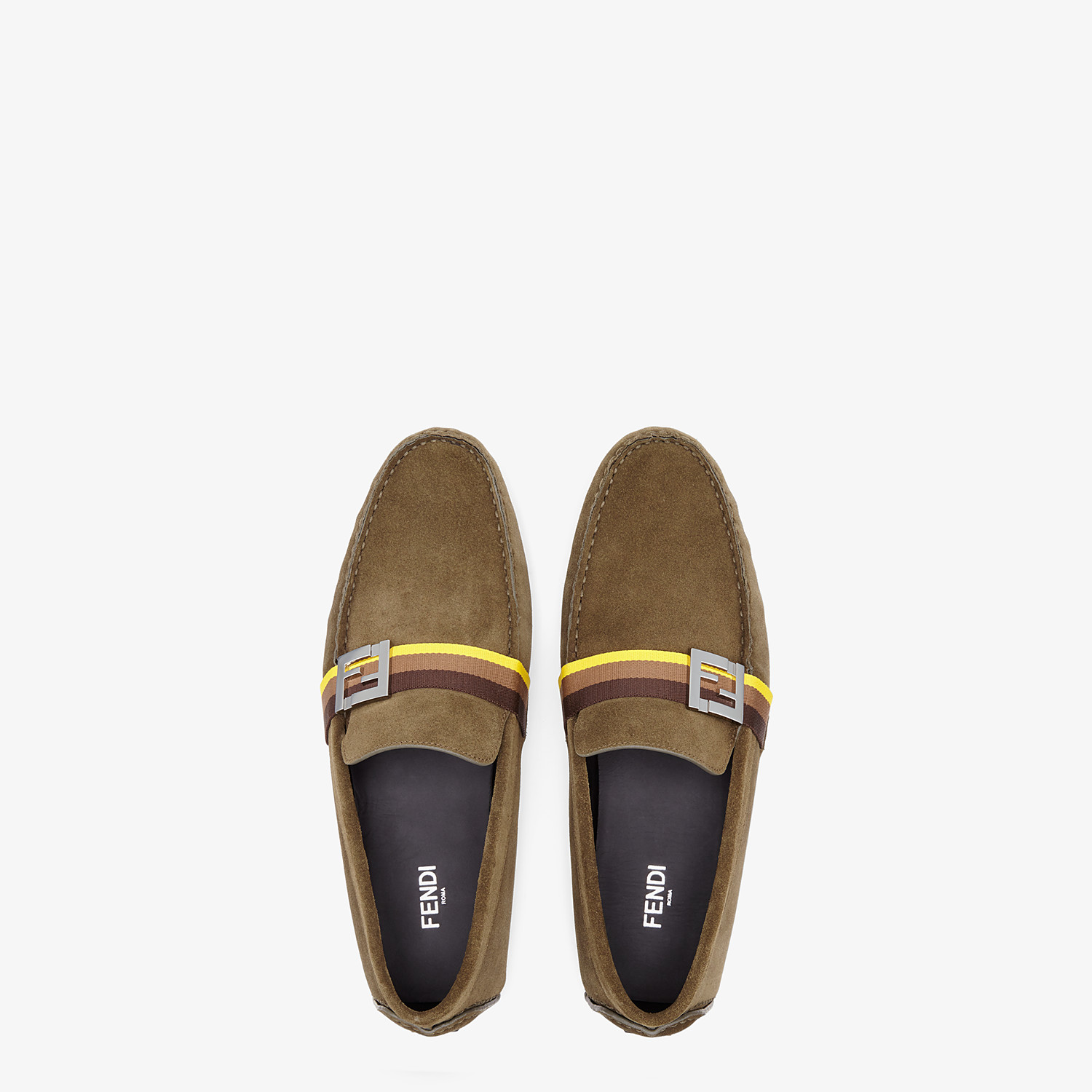 FENDI LOAFERS - Green suede loafers - view 4 detail