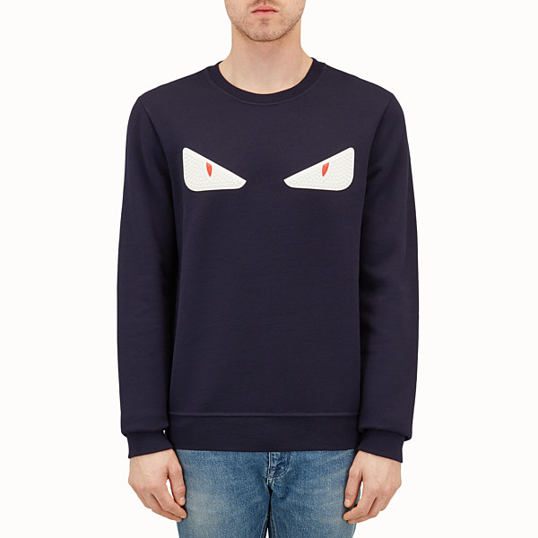 FENDI SWEATSHIRT - Blue wool and cotton sweatshirt - view 1 small thumbnail