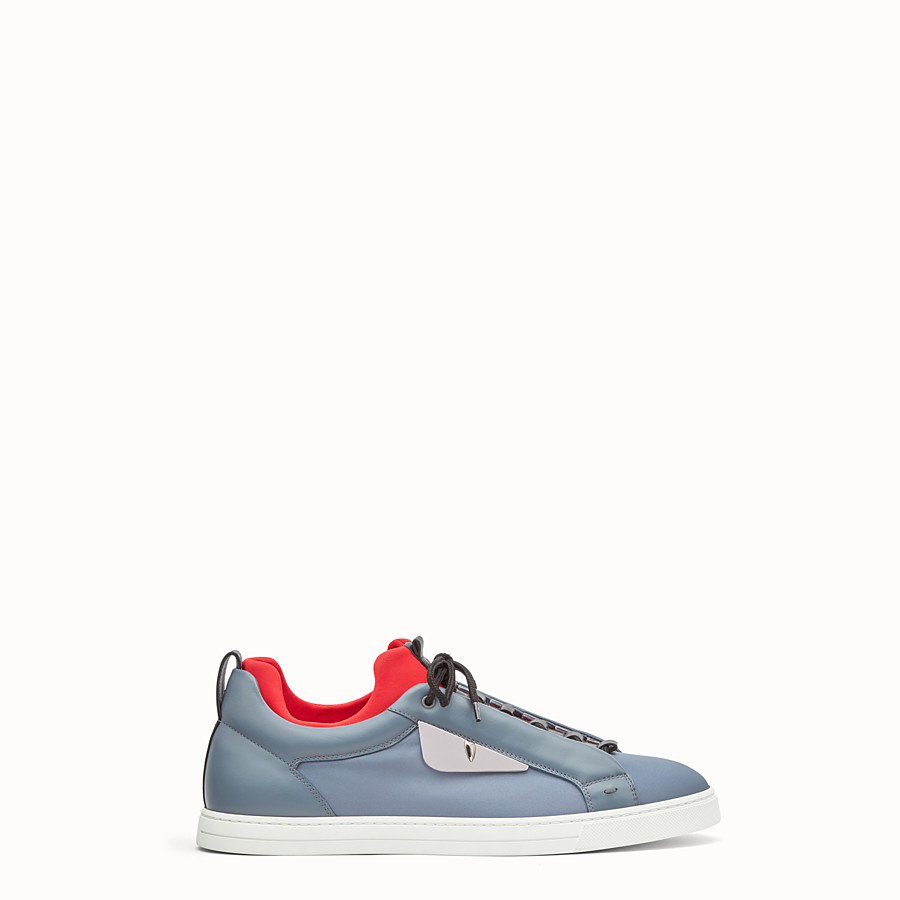 FENDI SNEAKER - Light blue leather and nylon lace-ups - view 1 detail