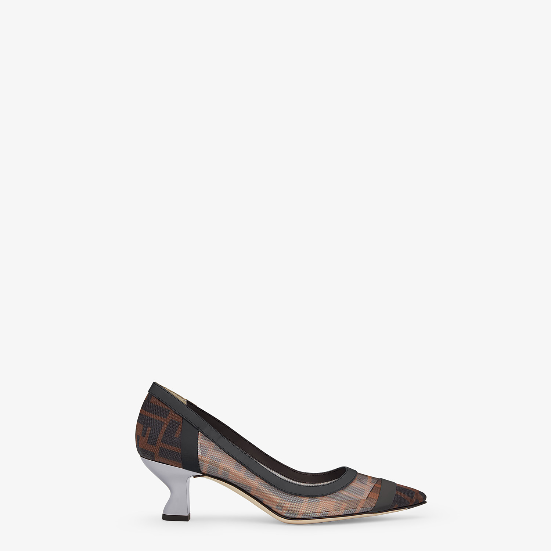 FENDI COLIBRÌ - Black leather and mesh medium-heel court shoes - view 1 detail